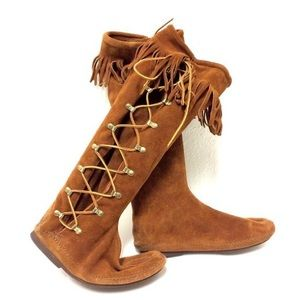 Minnetonka side lace knee high boots